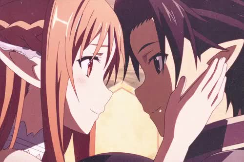 Watch asunaxkirito GIF on Gfycat. Discover more anime, anime ships, asuna, asuna yuuki, canon, kirito, kirito and asuna, perfect couple, sword art onine ii, sword art online GIFs on Gfycat