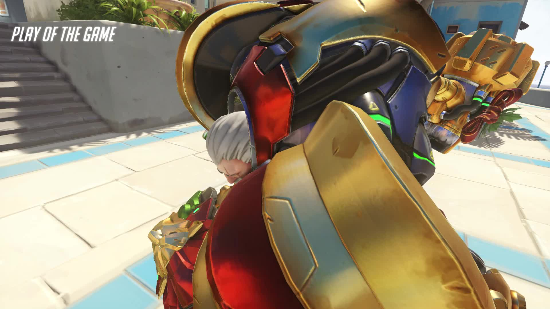 Earthshatter, Firestrike, Just hold W, Nosleep, Overwatch, POTG, Play of the Game, Rein, Reinhardt, StarkReVera, shattered presents for everyone 18-12-28 23-06-40 GIFs