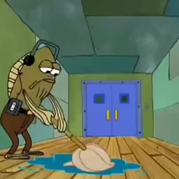 Watch and share SpongeBob Mopping Up Cranberry Juice GIFs on Gfycat