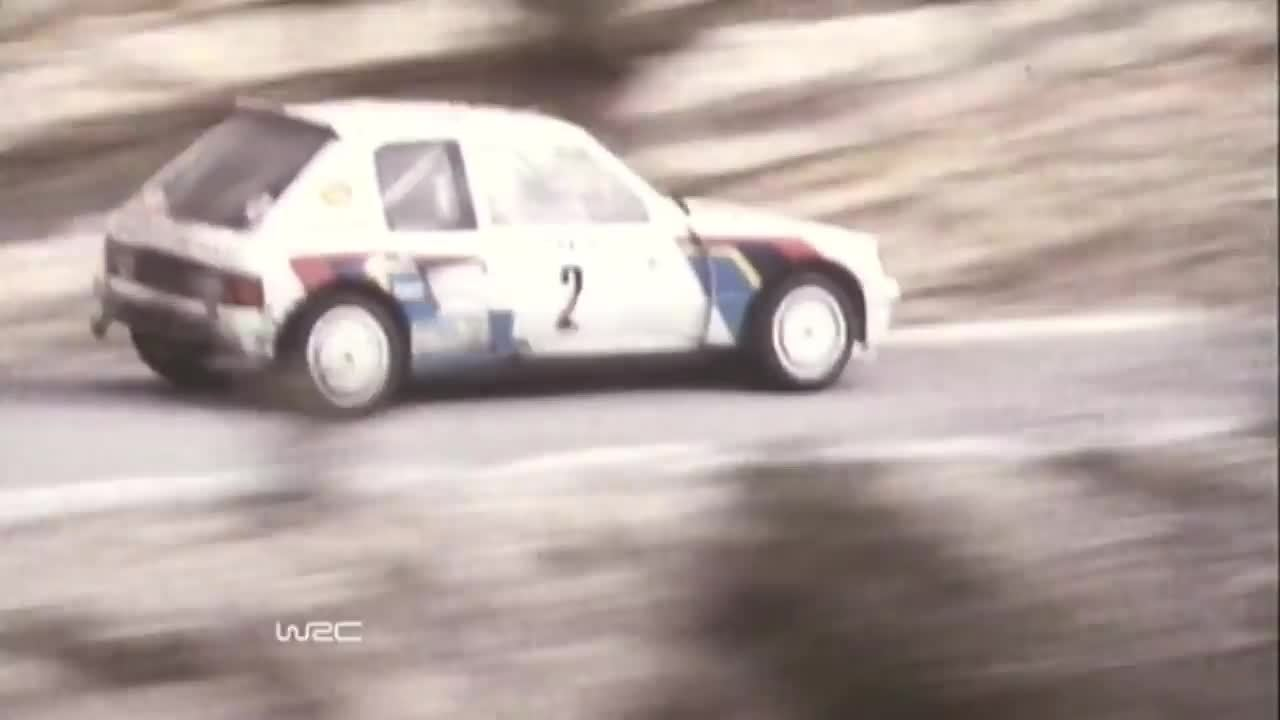rally, Group B Peugeot 205 T16 flat out on the edge GIFs
