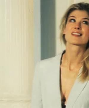 Watch and share Rosamund Pike Hot Short Skirt Long Jacket Gif GIFs on Gfycat