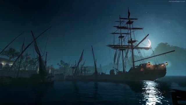 Watch Wallpaper Engine - Pirate Ship at Night Animated Wallpaper GIF on Gfycat. Discover more