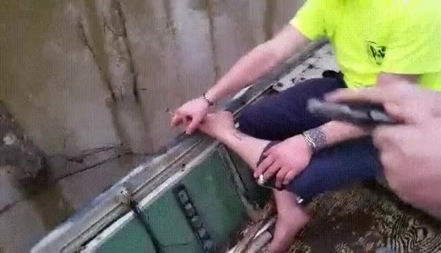 Watch [50/50] Man uses a gun to shoot out a fish hook (NSFW/L) | Dog on a trampoline (SFW) (reddit) GIF on Gfycat. Discover more FiftyFifty, holdmybeer GIFs on Gfycat