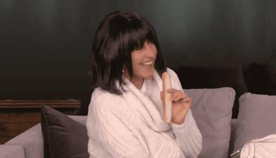 away, bite, bread, cookie, disgust, disgusting, ellen, ew, funny, hilarious, identity, kardashian, kim, lol, pregnent, pretend, serious, smile, surrogate, throw, Ellen is Kim Kardashian's surrogate GIFs