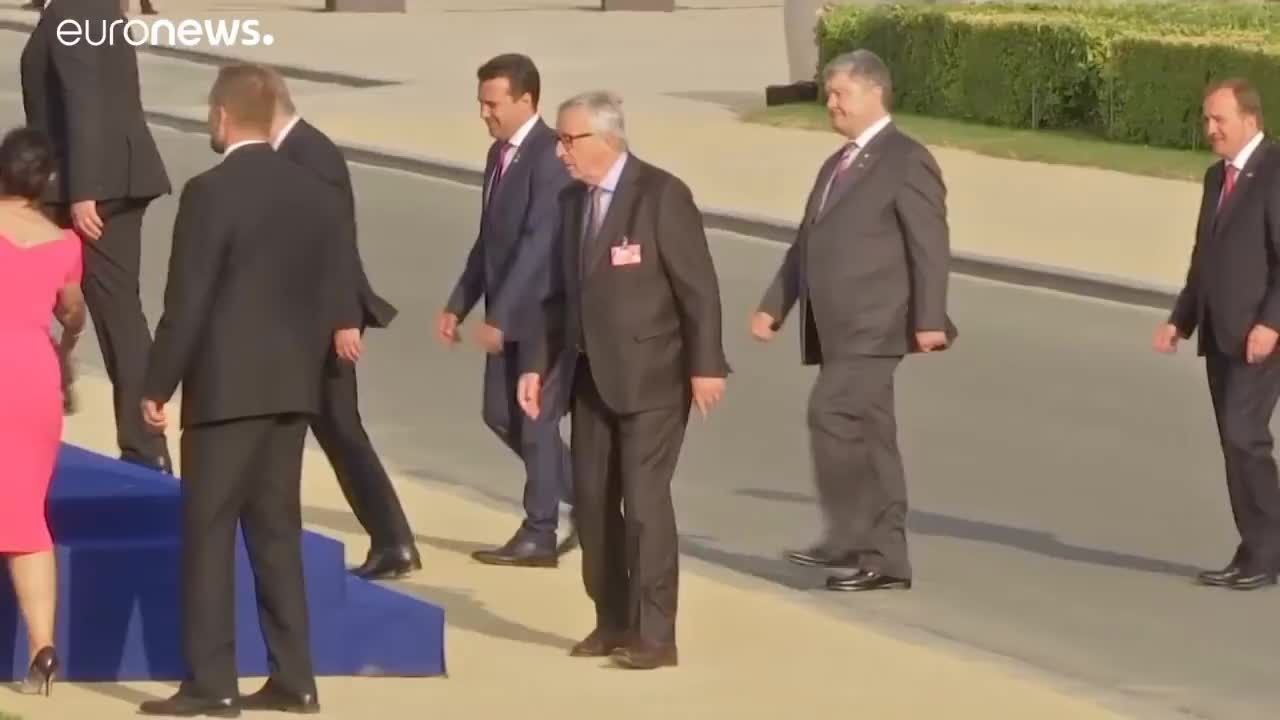 Juncker, NATO, belgium, brussels-bureau, drunk, health, Juncker seen stumbling before NATO gala dinner, leaders step in to help GIFs