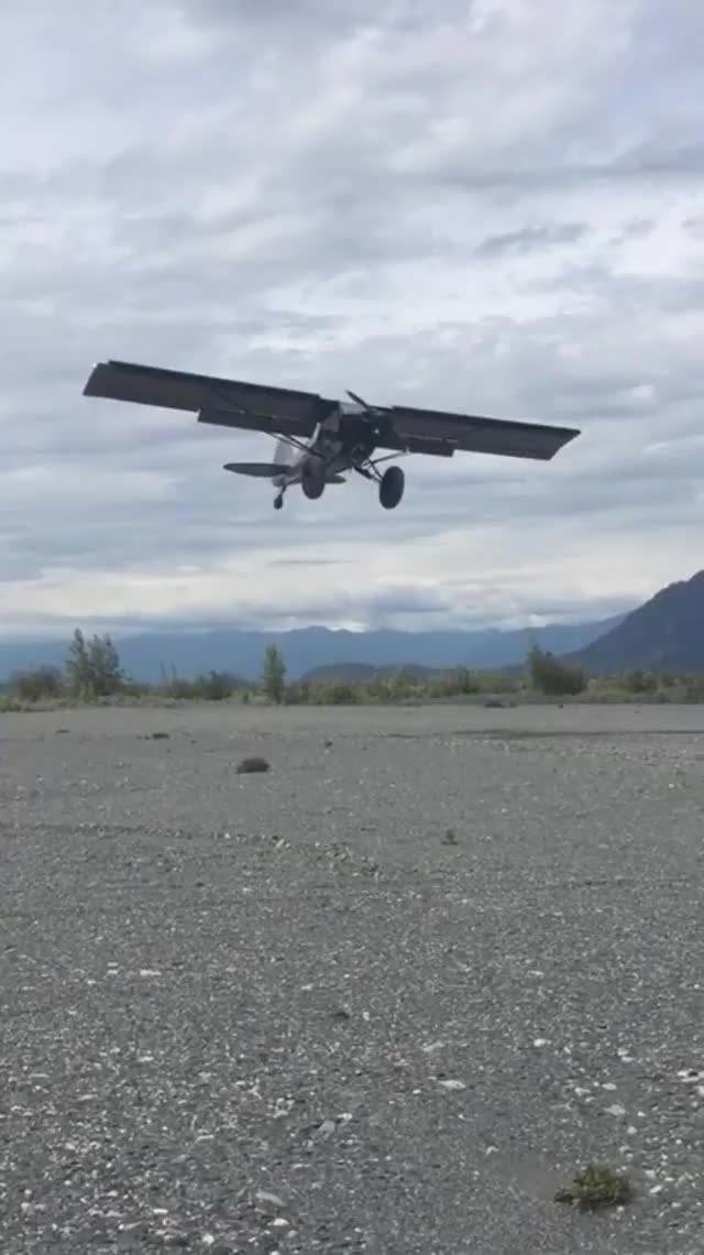 Watch and share Plane Lands Vertically In Strong Headwinds In Alaska. GIFs by meskal on Gfycat