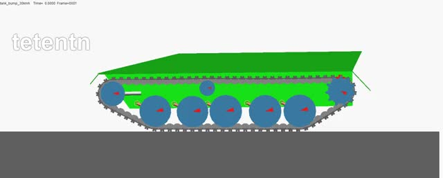 Watch Adams Tracked Vehicle Toolkit - Tank driving over bump at 30km/h (follow) GIF on Gfycat. Discover more ATV, Adams, MSC Software, Tank, Tracked, Vehicle, bump GIFs on Gfycat