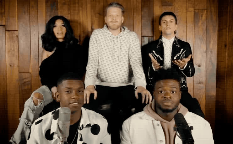 adios, bye, cu, evolution, farewell, goodbye, hello, hey, kiss, kisses, later, of, pentatonix, rihanna, see, send, wave, waving, you, Evolution of Rihanna by Pentatonix GIFs