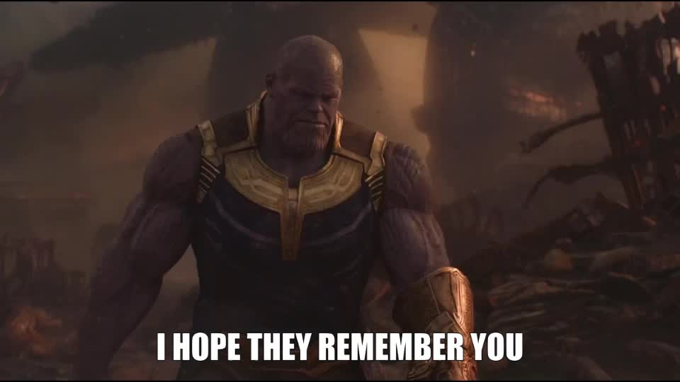 avengers, avengers infinity war, movies, remember, sad, thanos, Thanos - I Hope They Remember You GIFs