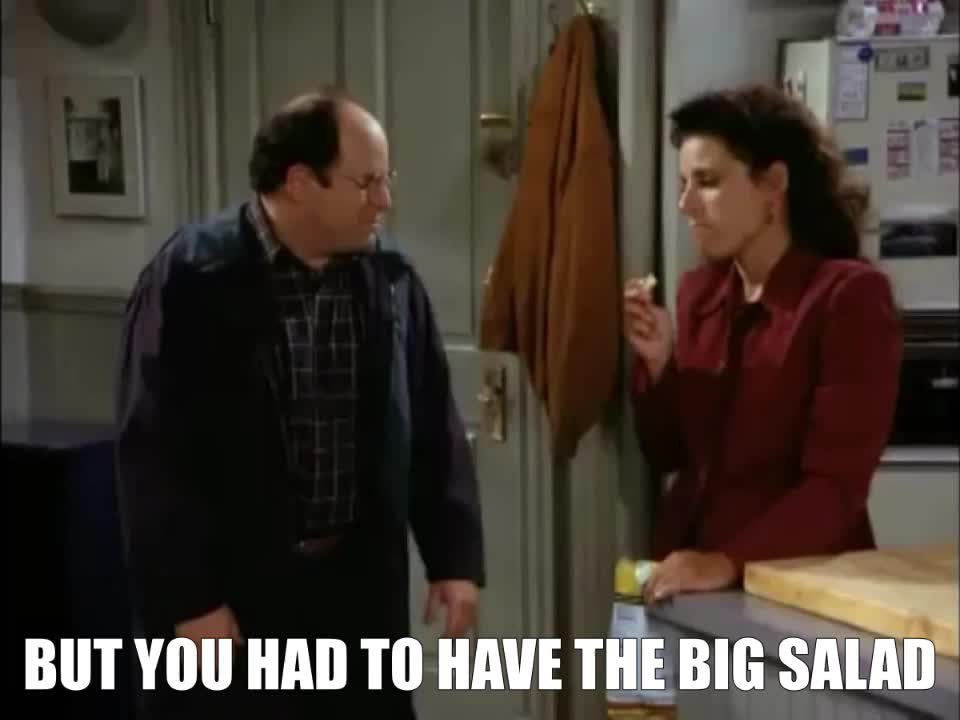 george costanza, jason alexander, salad, seinfeld, Big Salad Seinfeld GIFs