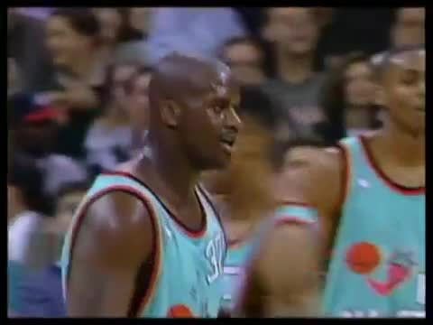 nbagifs, Shaquille O'Neal monster dunk over Robinson in 96 All Star Game (reddit) GIFs