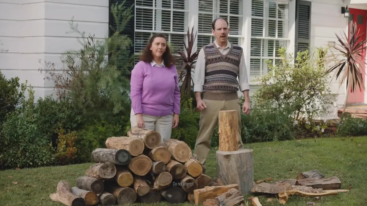 Firewood, Neighborhood, Wood, ad, anxiety, best, chop, comedy, funny, geico, home, homeowner, karate, move, moving, neighbor, spoof, stress, therapy, tv, Karate Therapy - GEICO Insurance GIFs