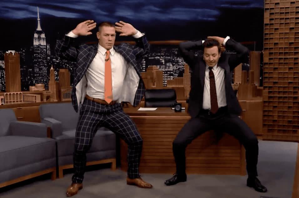 celebrate, cena, dance, dancing, fallon, funny, girl, gone, groom, jimy, john, lol, madonna, move, party, sexy, show, tonight, wedding, wild, Jimmy teaches John Cena Madonna's girl gone wild dance GIFs