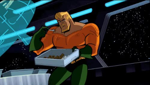 Watch this aquaman GIF on Gfycat. Discover more aquaman, arthur curry, atlantis, batman, batman: the brave and the bold, dc comics, eating, gameraboy, gif, gifs, my gif, snack, snacking GIFs on Gfycat