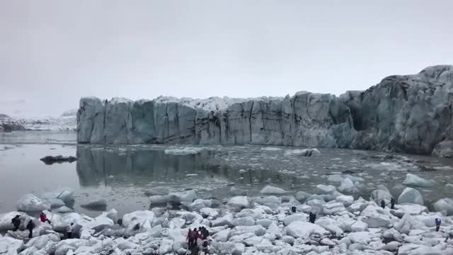 Watch Moment massive glacier collapses in Iceland sends tourists fleeing in panic GIF on Gfycat. Discover more Education, Keenan Mosdell GIFs on Gfycat
