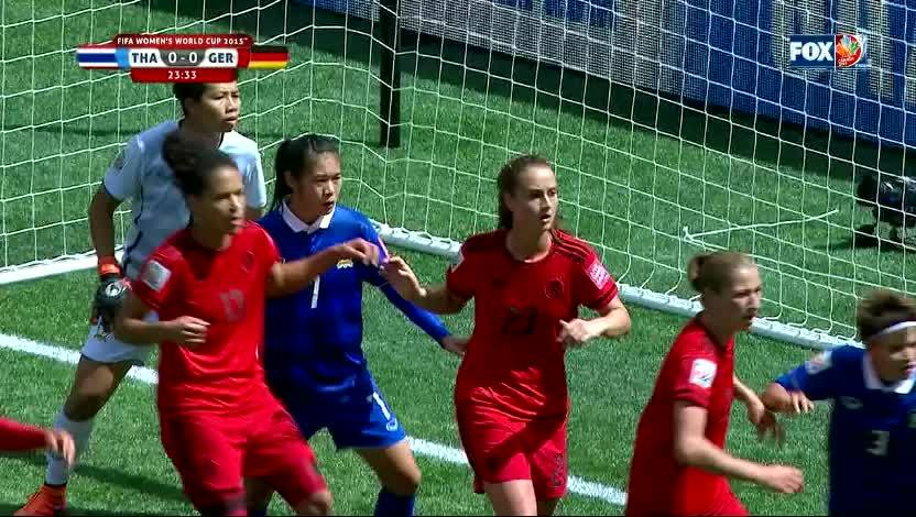 fcbayern, Melanie Leupolz scores with a nice header to give Germany the 1-0 lead vs Thailand (reddit) GIFs