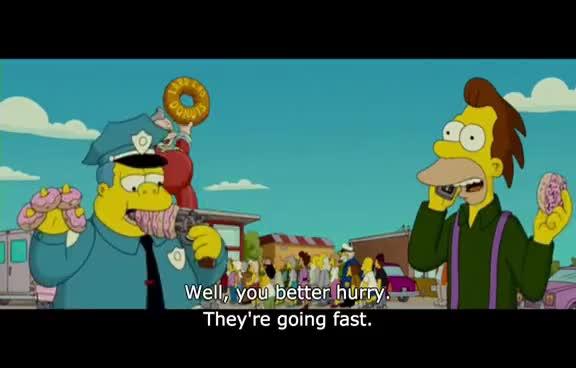 The Simpsons Movie Free Doughnuts Gif Gfycat