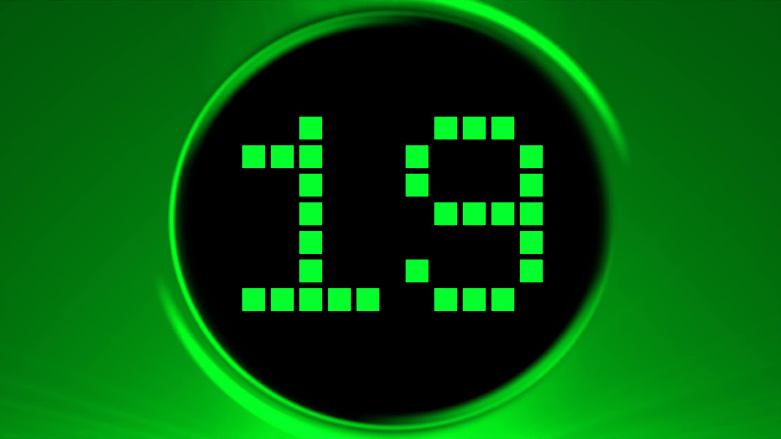 Green Countdown Timer 30 sec ( v 188 ) LED clock timer with sound effects HD GIF