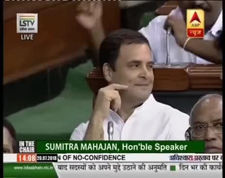 Rahul Gandhi Winks After Hugging PM Narendra Modi In Lok
