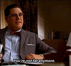 3.03, elizabeth moss, fat, gif, harry crane, mad men, madmen, patio, peggy olsen, pepsi patio, rich sommer, someone telling you you used to be fat, television, Look, I have elbows! GIFs