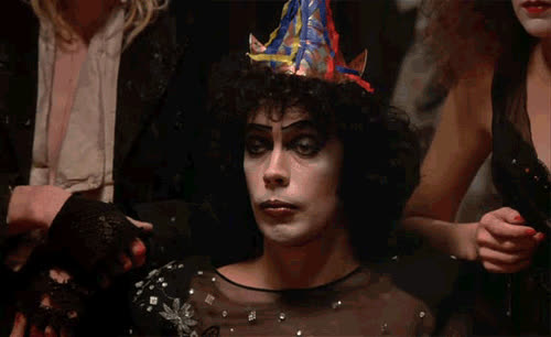 do not care, don't care, eh, meh, reaction, rocky horror picture show, tim curry, whatever, whatevs, meh GIFs