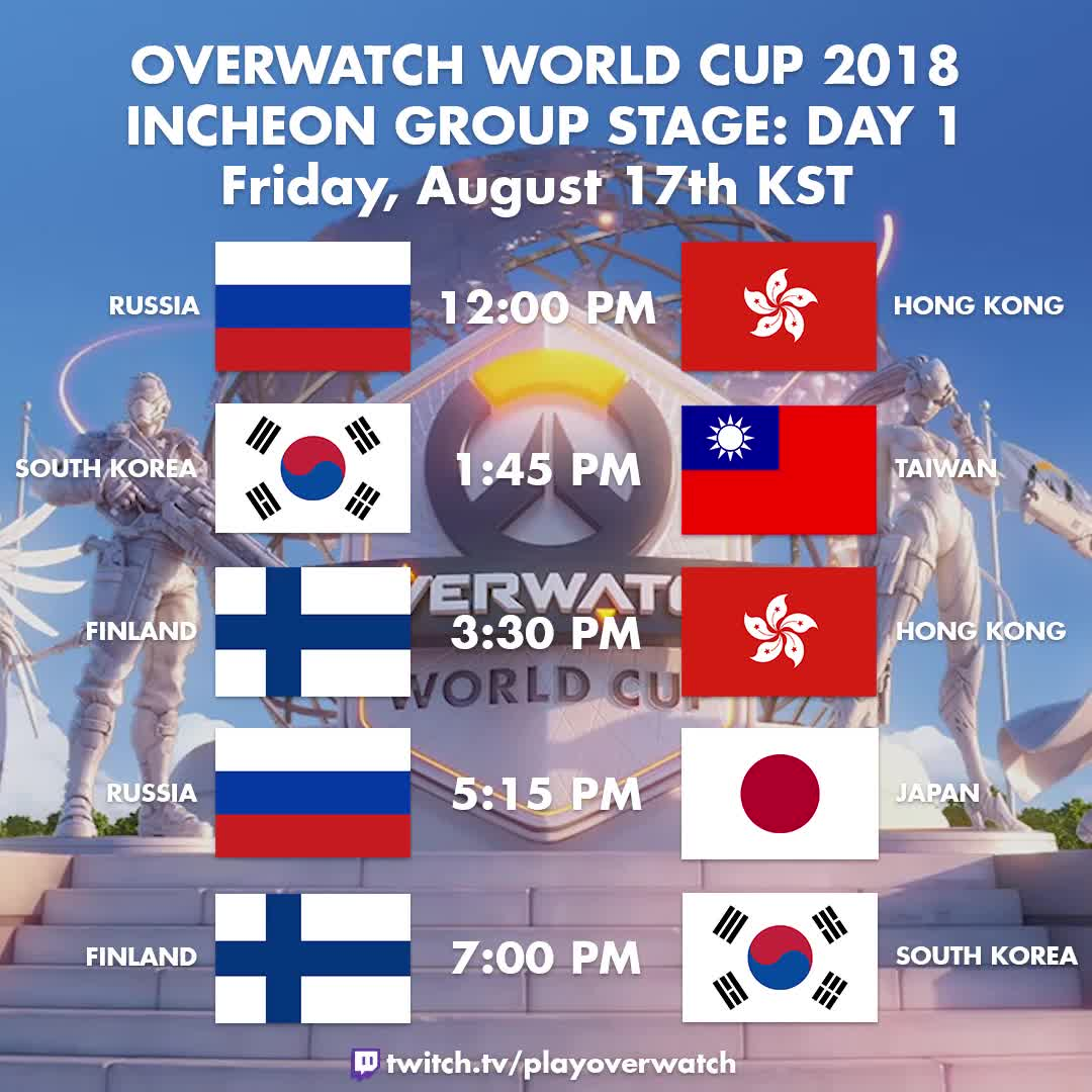 finland, hong kong, japan, overwatch, overwatch world cup, russia, south korea, taiwan, world cup, Overwatch World Cup 2018: Incheon Group Stage Day 1 GIFs