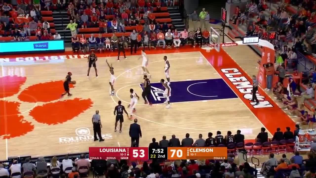 ACC, Belt, Cajuns, Clemson, ESPN, Lafayette, Louisiana, Ragin, Sun, Tigers, 2017-18 College Basketball: Louisiana vs. Clemson (Full Game) GIFs