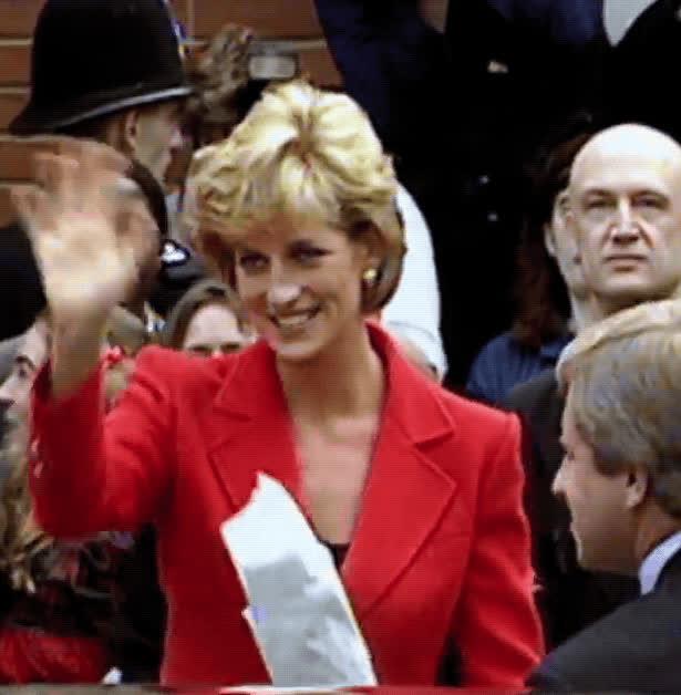 Princess Diana, hello, hi, people's princess, princess of wales, rip, wave, Princess Diana Wave GIFs