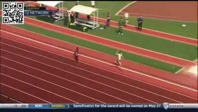 Watch and share Oregon Runner Celebrates Too Early, Ends Up Losing The Race | Beaten At Finish Line Premature GIFs on Gfycat