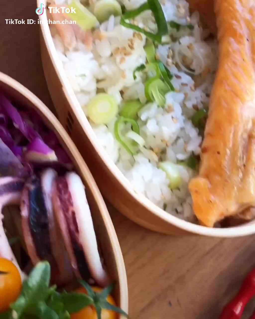 #詰め詰めお弁当  #反転世界  ❁︎鮭のハラス弁当❁︎九条葱混ぜごはん♪̊̈♪̆̈ GIFs