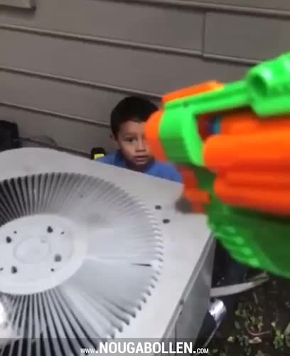 Watch and share Kid's Dramatic Reaction To Getting Hit With A Nerf Gun GIFs by TMS on Gfycat
