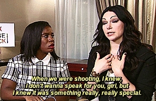 Laura Prepon, OITNB, Uzo Aduba, alexvause, crazyeyes, lauraprepon, myedit, orange is the new black, Uzo wants Laura to speak for her. Haha GIFs