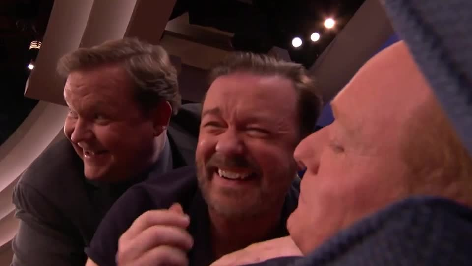 andy, brien, conan, epic, floor, funny, gervais, joke, laugh, laughing, lol, o, on, ricky, rofl, rolf, roll, rolling, sofa, tbs, the, Ricky Gervais, Conan & Andy Make A Man-Wich  - CONAN on TBS GIFs