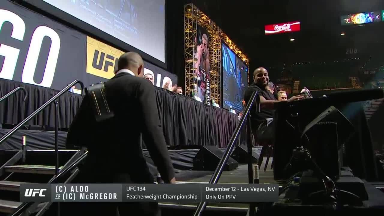 mmagifs, GO BIG press conference: Jose Aldo shakes Cormier hand than touches Joanna Jedrzejczyk and Ronda Rousey (reddit) GIFs