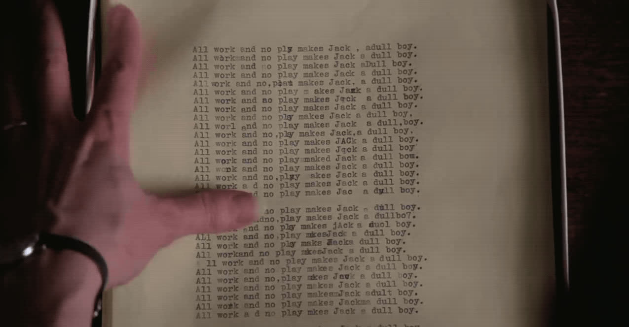 crazy, stanley kubrick, the shining, typewriter, All Work And No Play GIFs