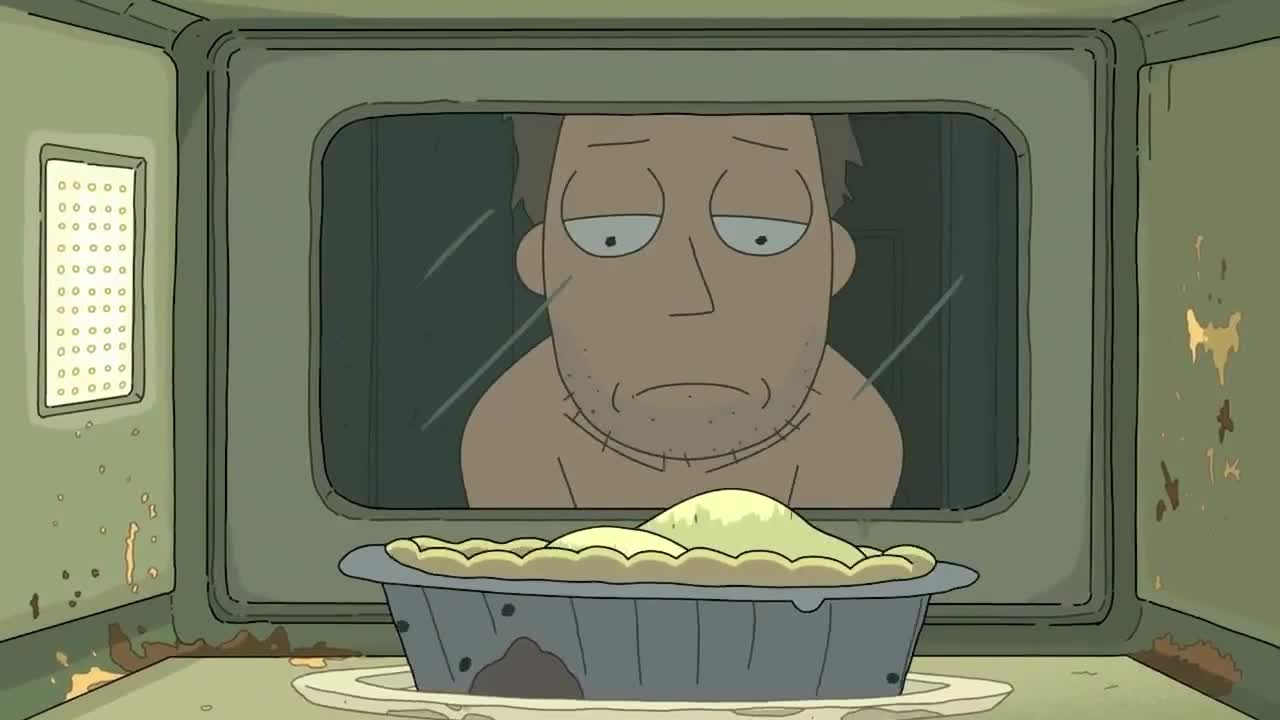 GIF Brewery, chef, conspiracy, cook, dinner, dirly, disaster, gif brewery, hunger, hungry, lunch, microwave, morty, no, oh, pie, poor, rick, sad, wait, waiting, Rick and Morty - Sad Pie GIFs