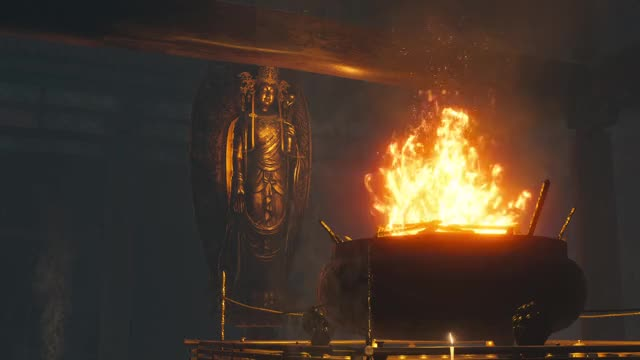 Sekiro Shadows Die Twice Buddha by a fire