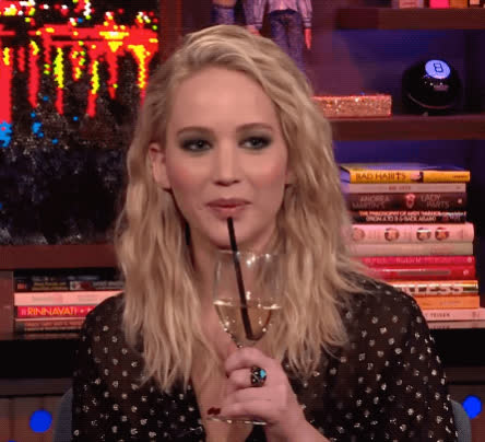 drinking, gossip, jennifer lawrence, national wine day, reality tv, sip, watch what happens live, white wine, wine, Jennifer Lawrence Drinking GIFs
