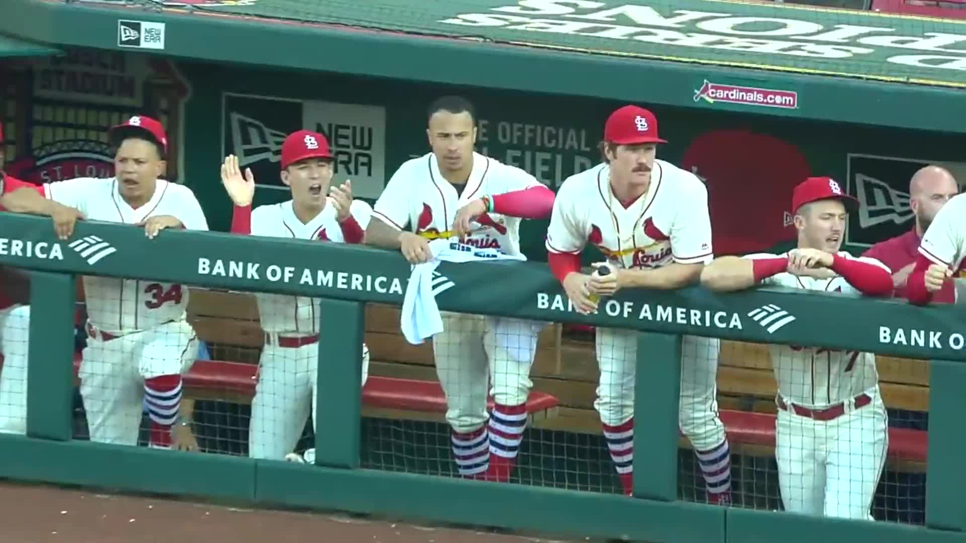 baseball, cardinals, st. louis, Kolten Wong celebrates O'Neill's two RBI double. GIFs