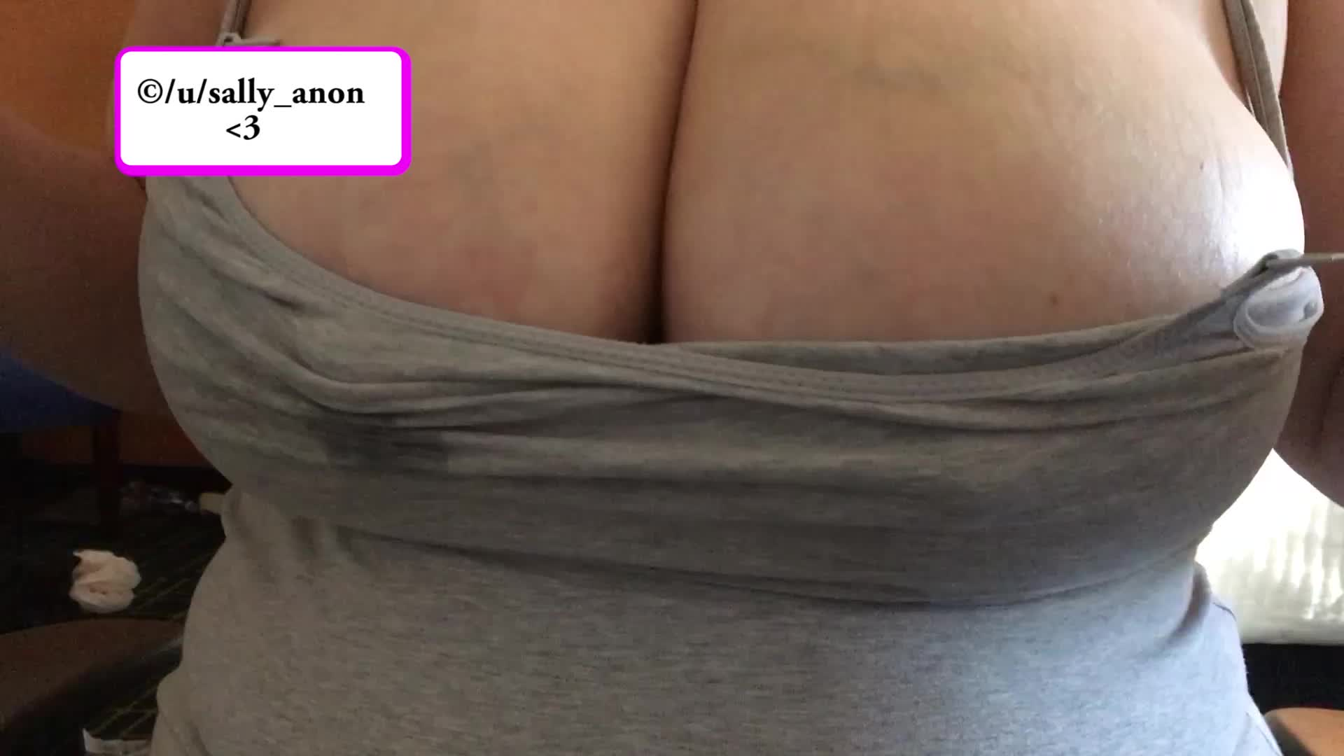 Bouncing and rubbing my engorged swollen breasts