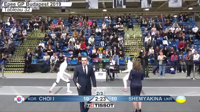 Watch CHOI I 10 GIF by Scott Dubinsky (@fencingdatabase) on Gfycat. Discover more gender:, leftname: CHOI I, leftscore: 10, rightname: SHEMYAKINA, rightscore: 11, time: 00015376, touch: right, tournament: budapest2019, weapon: epee GIFs on Gfycat
