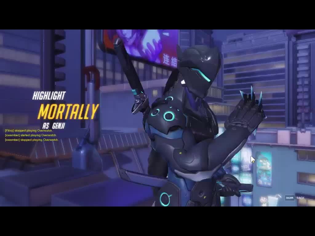 GenjiMains, overwatch, Highlight Play of Genji (me) outplaying Tracer GIFs