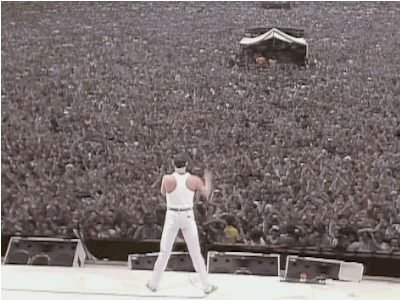 1980s, 1985, 80s, 80s gif, 80s mtv, freddy mercury, gif, live aid, queen, 80s band GIFs