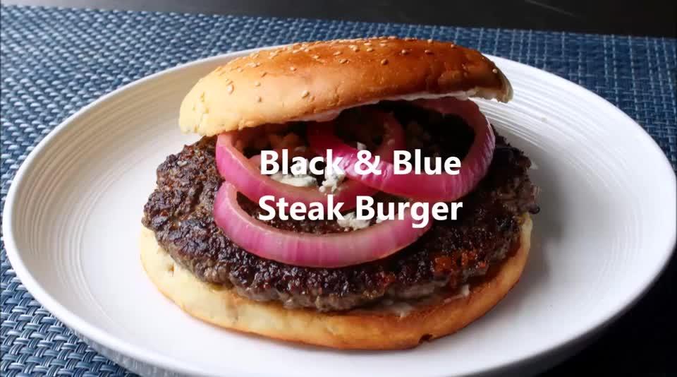 burger, chef john, cooking, food recipes, foodwishes, recipe, recipes, Black & Blue Steak Burger GIFs