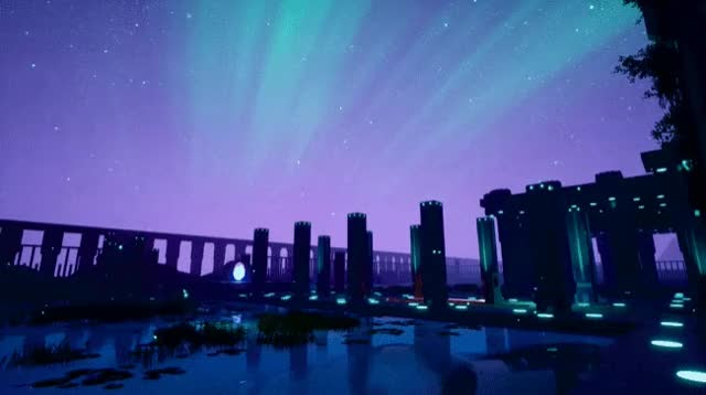 Watch and share Flooded Ruins Aurora GIFs on Gfycat