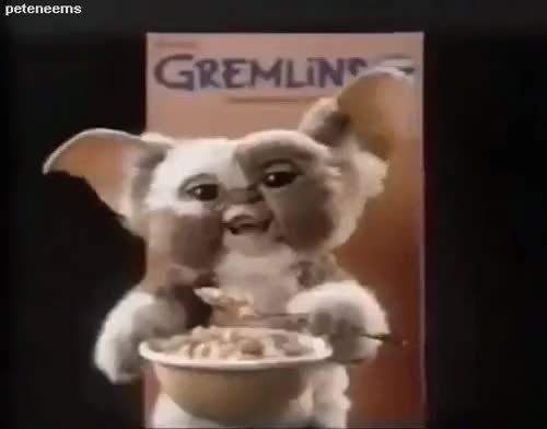 Watch this GIF on Gfycat. Discover more 80s, 80s commercials, cereal, gif, gizmo, gremlins, gremlins cereal GIFs on Gfycat