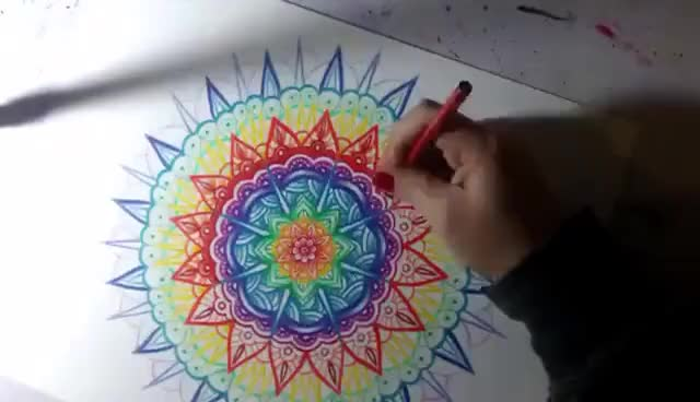 Watch and share Rainbow Mandala Colored Pencil Drawing Time Lapse Geometric Art GIFs on Gfycat
