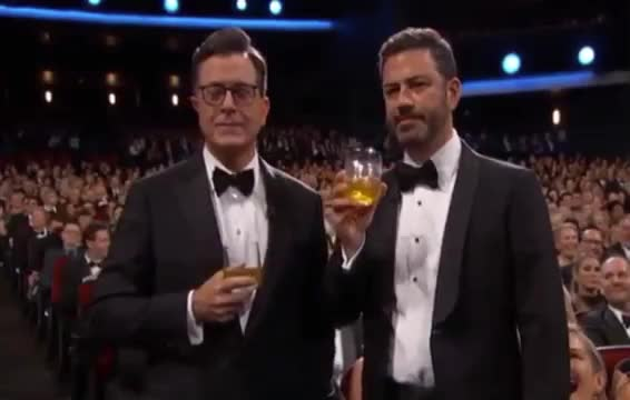 Jimmy Kimmel, Stephen Colbert, cheers, colbert, drink, drunk, emmys, ew, funny, jimmy, kimmel, stephen, Stephen Colbert & Jimmy Kimmel Emmys 2017 GIFs