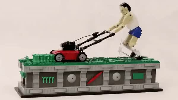 Watch A relaxing, kinetic LEGO sculpture of a man pushing a lawnmower GIF on Gfycat. Discover more related GIFs on Gfycat