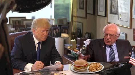 bernie sanders, donald trump, politics, Sanders, Trump, and Burger GIFs